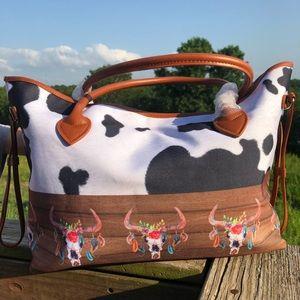 Canvas Cow Print/Cow Head Floral Tote